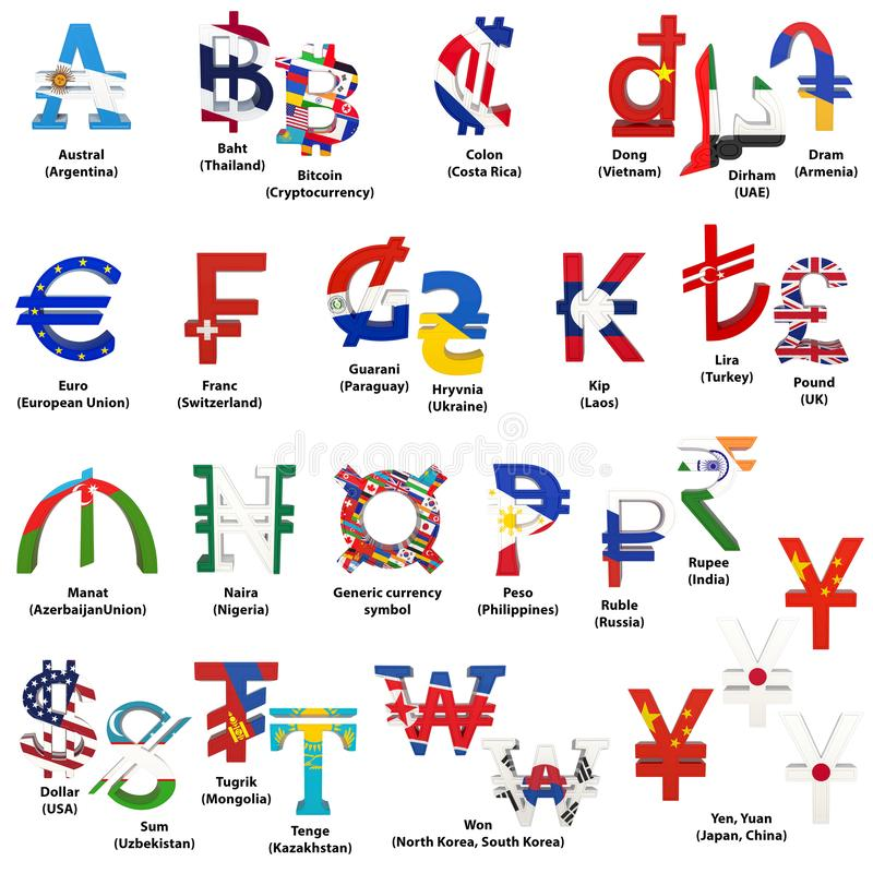 Set of world currency symbols with national flags. Alphabet of currency symbols of different countries. 3D rendering isolated on stock illustration
