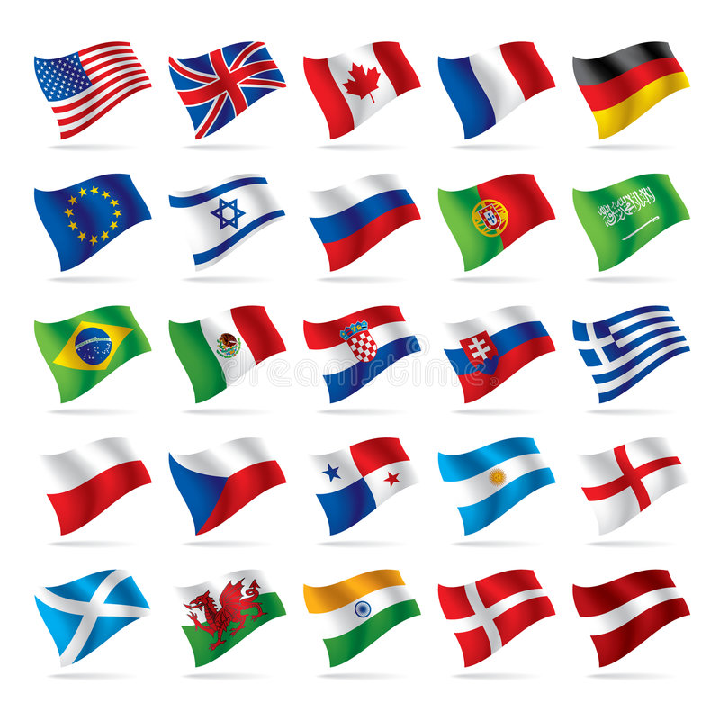 Set of world flags 1. Isolated raster version of vector set of world flags 1 (contain the Clipping Path of all objects) There is in addition a vector format (EPS royalty free illustration