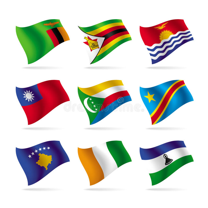 Set of world flags 10 royalty free illustration