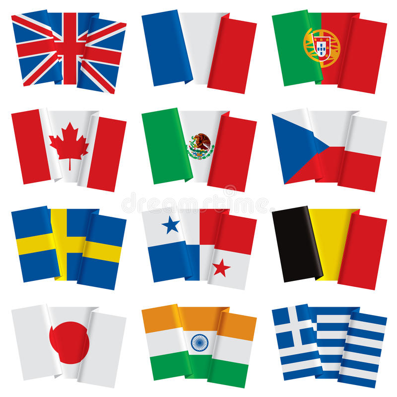 Set of world flags. Isolated raster version of vector set of world flags (contain the Clipping Path of all objects). There is in addition a vector format (EPS 8 royalty free illustration