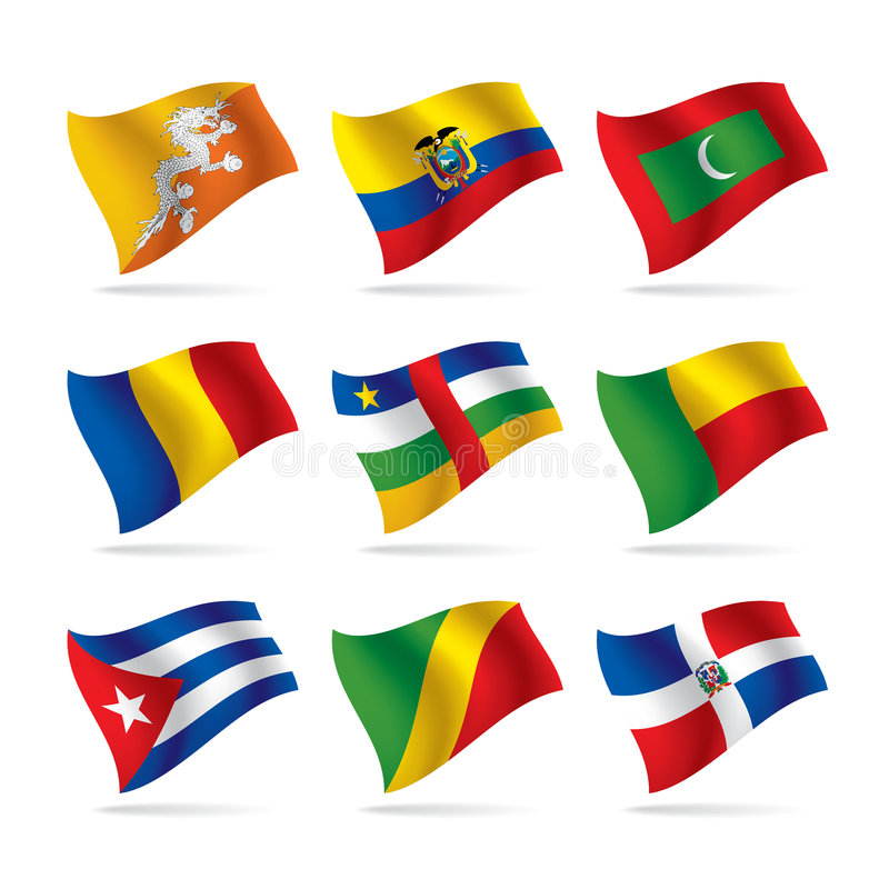 Set of world flags 7. Isolated raster version of vector set of world flags 7 (contain the Clipping Path of all objects) There is in addition a vector format (EPS