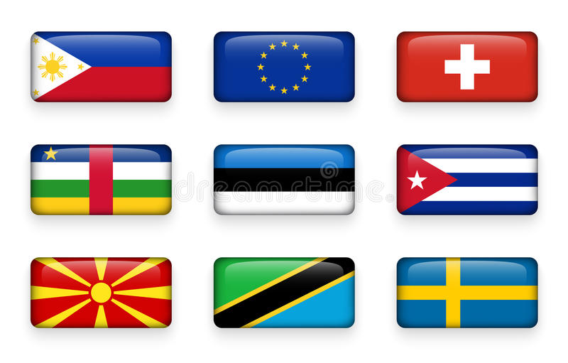 Set of world flags rectangle buttons Philippines . European union EU . Switzerland . Central African Republic . Estonia . Cuba royalty free illustration