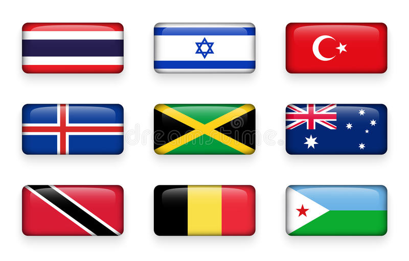 Set of world flags rectangle buttons Thailand . Israel . Turkey . Iceland . Jamaica . Australia . Trinidad and tobago . Belgium stock illustration