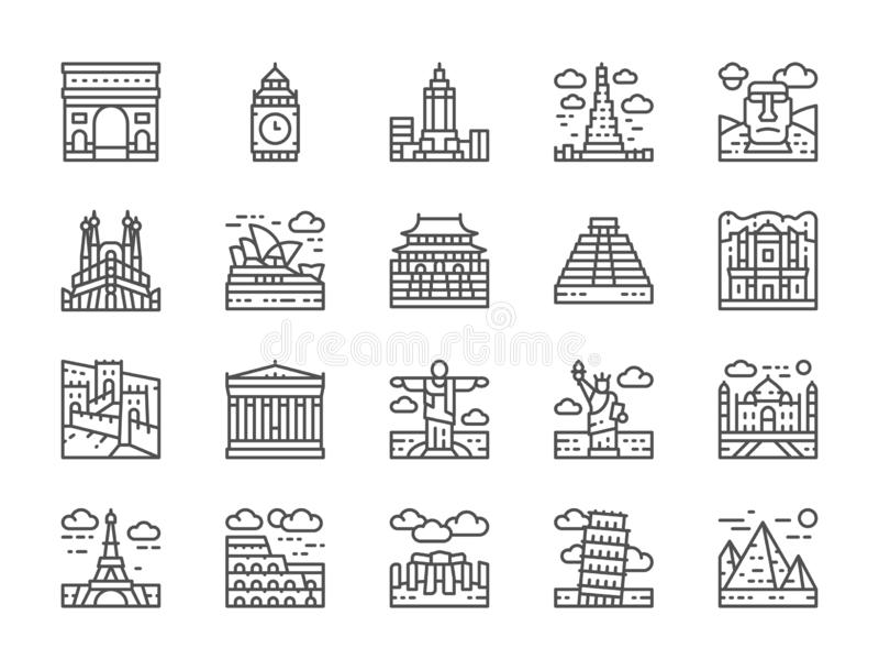 Set of World Landmark Line Icons. Egypt, Italy, United Kingdom, France and more. Set of World Landmark Line Icons. Egypt, Italy, United Kingdom, France, India vector illustration