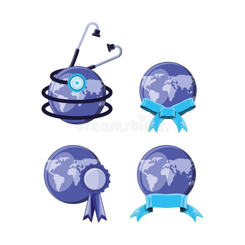 Set world planet earth and stethoscope. Vector illustration design royalty free illustration