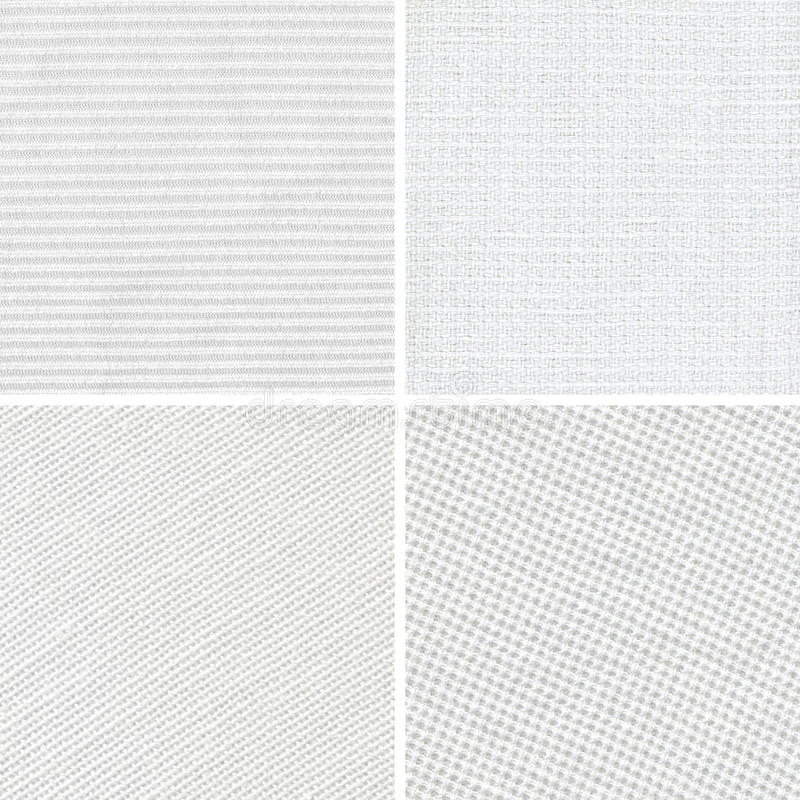 Set of woven white fabric texture. Set of different woven white fabric texture stock image