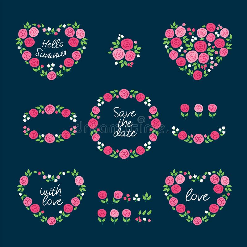 Set of wreaths of summer pink flowers. Hand drawn floral element. stock illustration