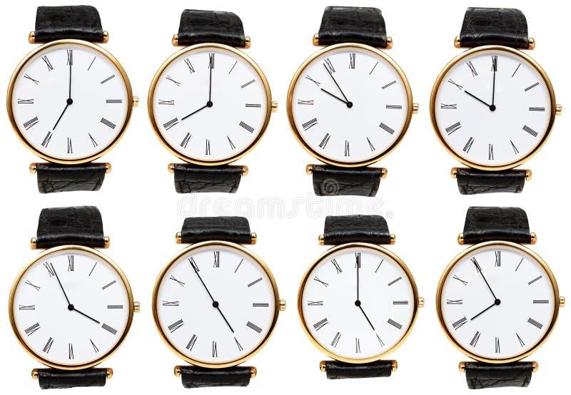 Set wristwatch tarcze z różnym czasem obrazy royalty free