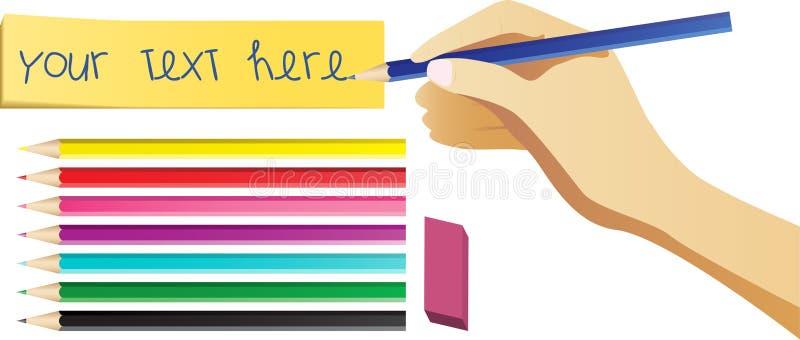 set writing för handanmärkning stock illustrationer