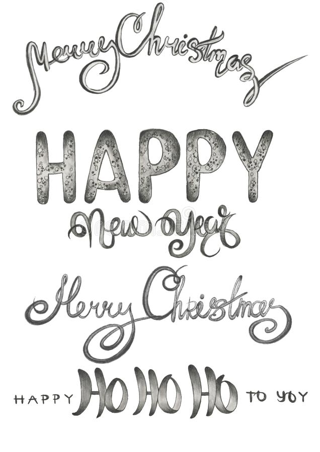 Set of writings, new year and merry christmas words in different styles. Pencil hand drawn black and white set of writings, new year and merry christmas words in vector illustration