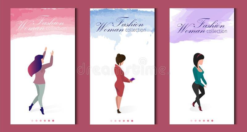 Set Written Fashion Woman Collection Seasonal Sale. Lettering Colored Watercolor Brush Stroke. Vertical Flat Banner Landing Page. Beautiful  Women Wear royalty free illustration