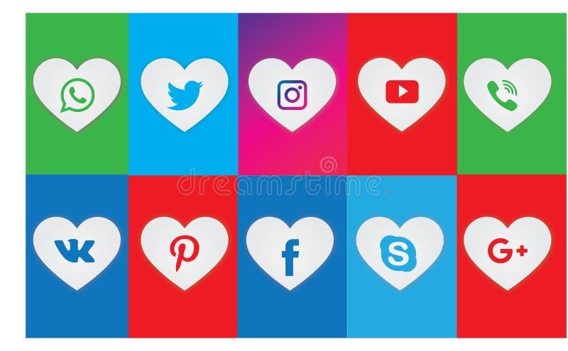 Set Wszystkie Ogólnospołeczna Medialna sieci ikona Ogólnospołeczna medialna logo kolekcja royalty ilustracja
