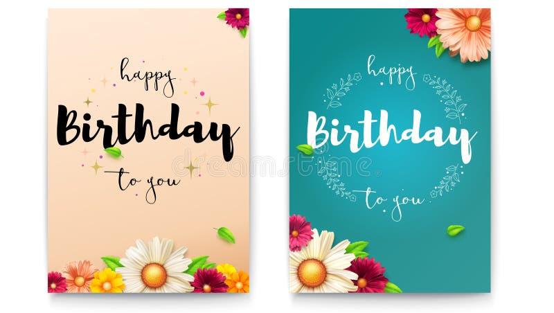 Set wszystkiego najlepszego z okazji urodzin kwieciści plakaty z literowanie projektem Świeży urodzinowy tło z wiosną, lato kwitn ilustracja wektor
