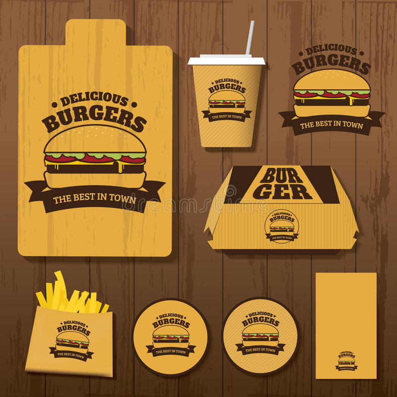Set Wyśmienicie hamburgerów Korporacyjna tożsamość fotografia royalty free