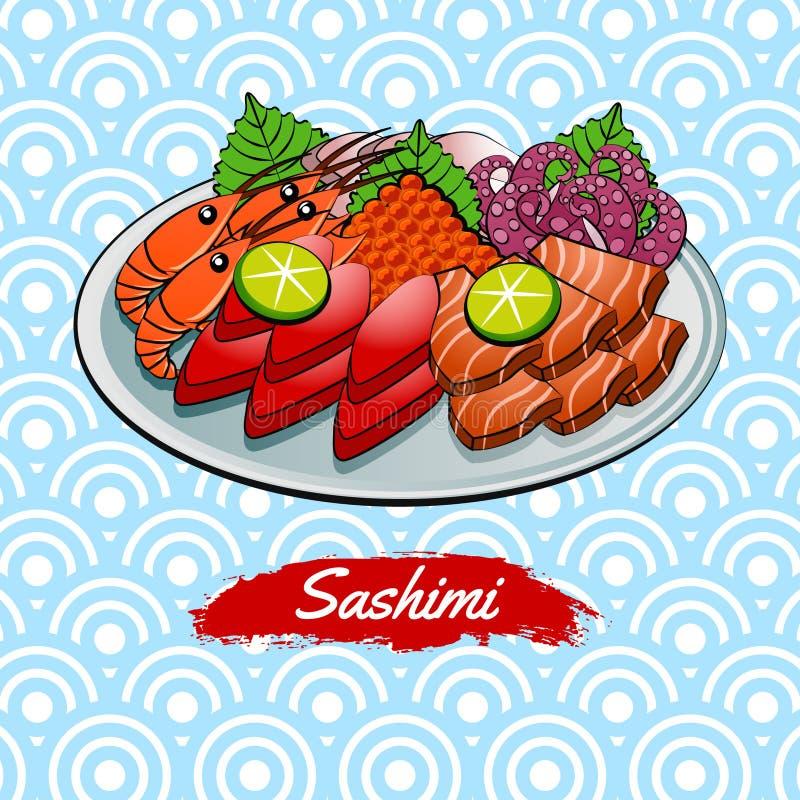 Set wyśmienicie i sławny jedzenie japończyk, Sashimi, w kolorowej gradientowej projekt ikonie ilustracja wektor