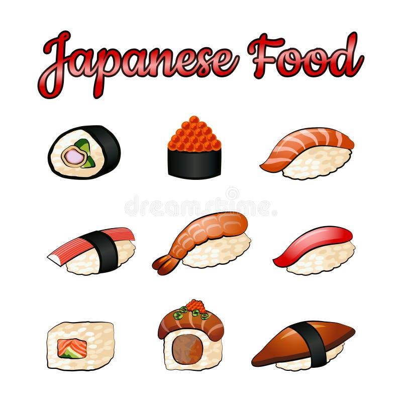 Set wyśmienicie i sławny jedzenie japończyk, suszi, w kolorowej gradientowej projekt ikonie ilustracji