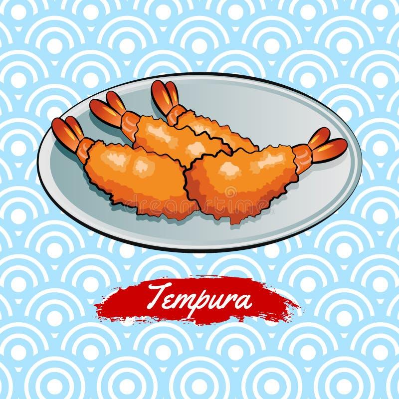 Set wyśmienicie i sławny jedzenie japończyk, Tempura, w kolorowej gradientowej projekt ikonie ilustracji
