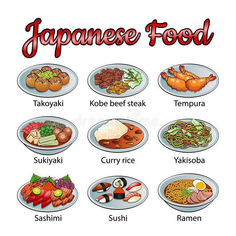 Set wyśmienicie i sławny jedzenie japończyk w kolorowej gradientowej projekt ikonie royalty ilustracja