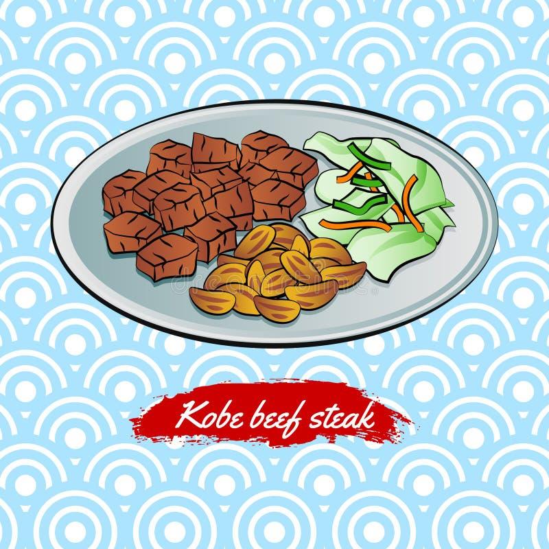 Set wyśmienicie i sławny jedzenie japończyk, wołowina stek w kolorowej gradientowej projekt ikonie, ilustracji