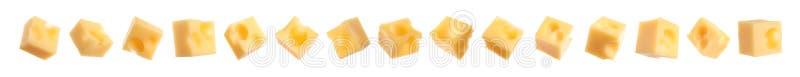 Set wyśmienicie serowi sześciany na białym tle sztandar zdjęcie stock