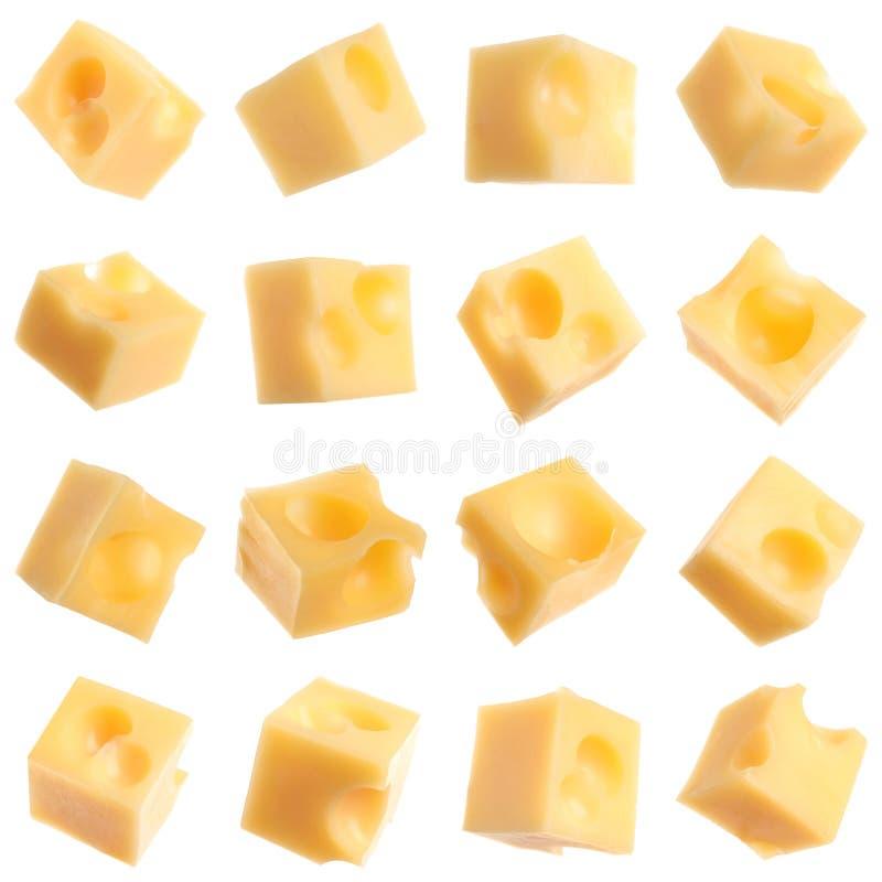 Set wyśmienicie serowi sześciany na bielu zdjęcia stock