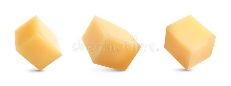 Set wyśmienicie serowi sześciany na bielu obraz royalty free