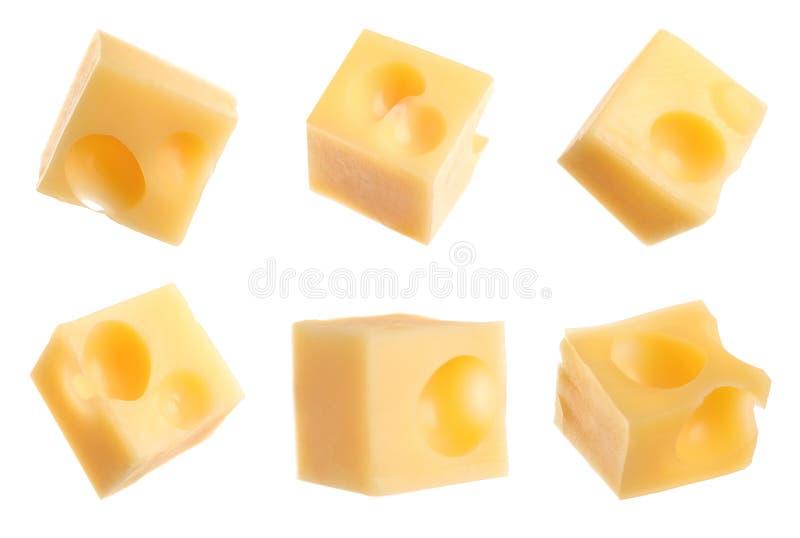 Set wyśmienicie serowi sześciany na bielu obrazy royalty free