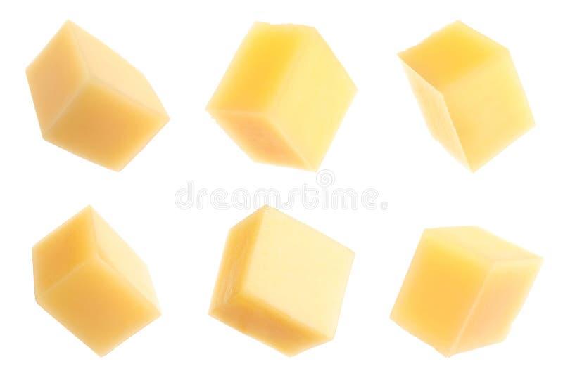 Set wyśmienicie serowi sześciany na bielu fotografia stock