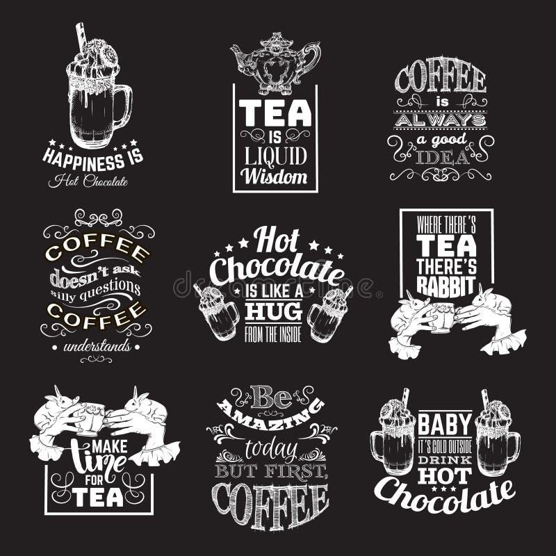 Set wycena typographical tło o gorącej czekolady kawie i herbacie ilustracja wektor