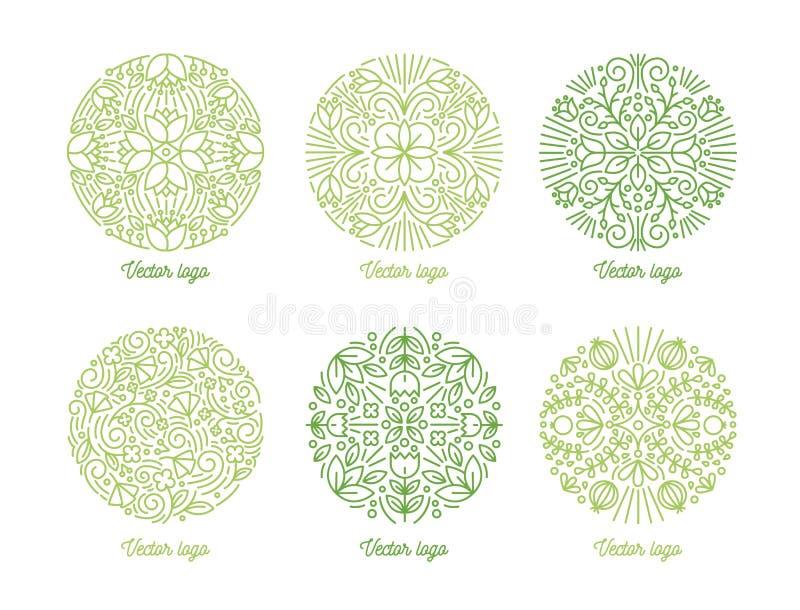 Set wyginający się wokoło orientalnych ornamentów rysujących z zielonymi konturowymi liniami na białym tle Kolekcja kółkowy kwiec ilustracji