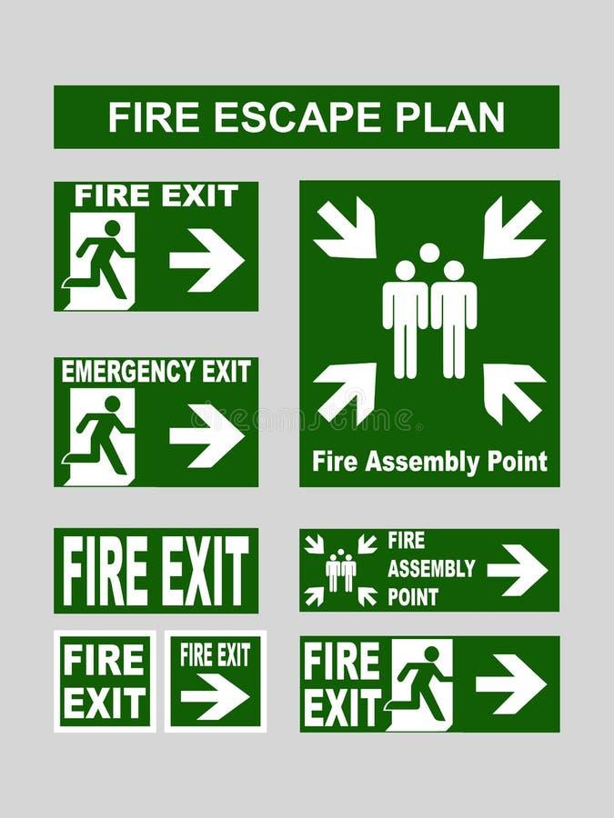 Set wyjście ewakuacyjne sztandary pożarniczy wyjście, wyjście ewakuacyjne, pożarniczy zgromadzenie punkt, ewakuacyjny wyjście dla ilustracji