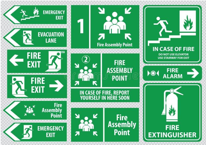 Set wyjście ewakuacyjne znak royalty ilustracja