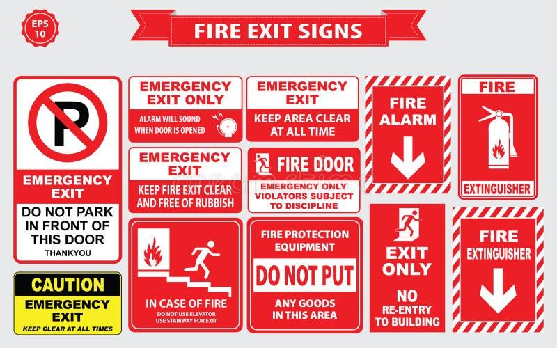 Set wyjście ewakuacyjne znak ilustracja wektor