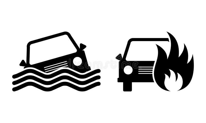 Set wypadek samochodowy ikony również zwrócić corel ilustracji wektora ilustracji