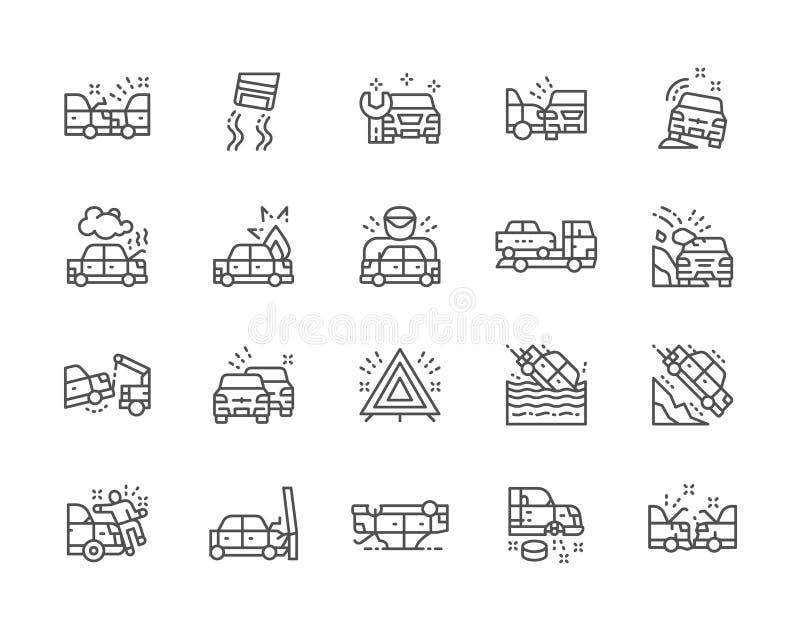 Set wypadek samochodowy Kreskowe ikony Samochód stacja, ewakuacja, ruchu drogowego dżem i więcej, ilustracja wektor