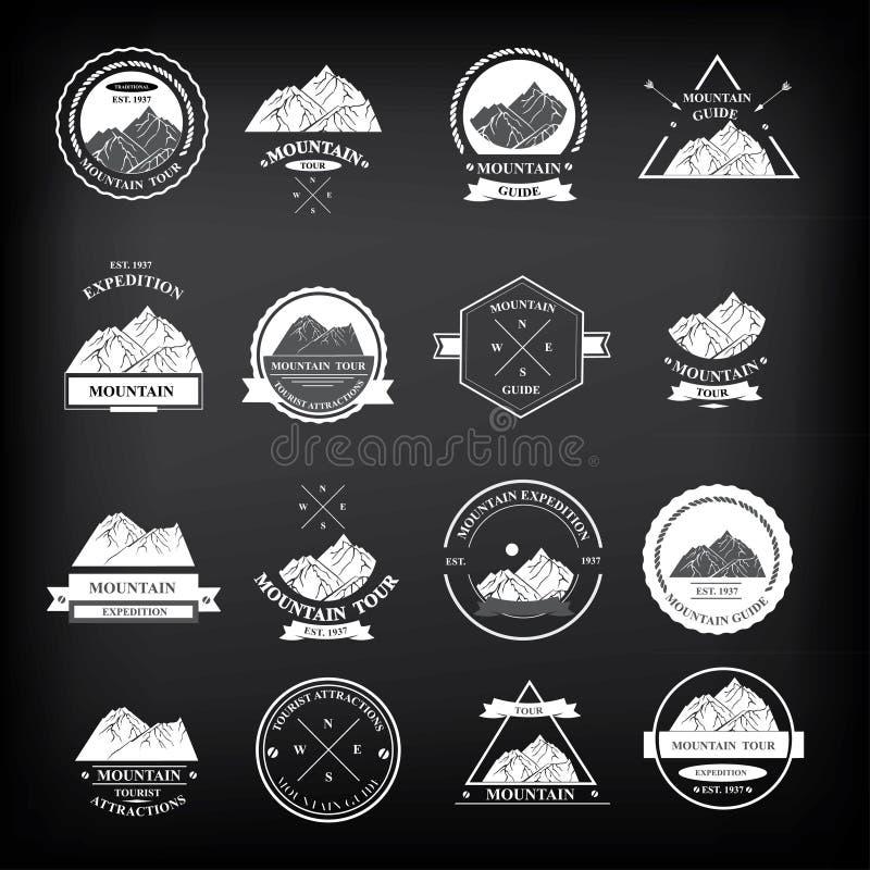 Set wypraw odznaki również zwrócić corel ilustracji wektora ilustracji