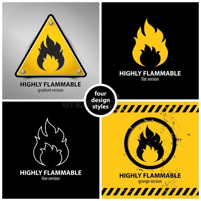 Set wysoce flammable ostrzegawczy symbole ilustracji
