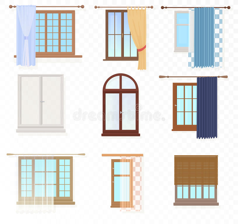 Set wysokiej jakości różnorodny rocznik Windows z zasłonami na alfa tle ilustracji