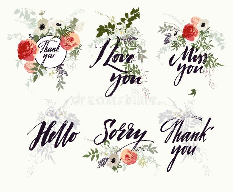 Set wzór, bukiety i kwiaty, Kartka z pozdrowieniami ilustracja wektor