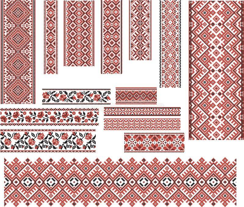 Set wzory dla Hafciarskiego ściegu czarna czerwony ilustracja wektor