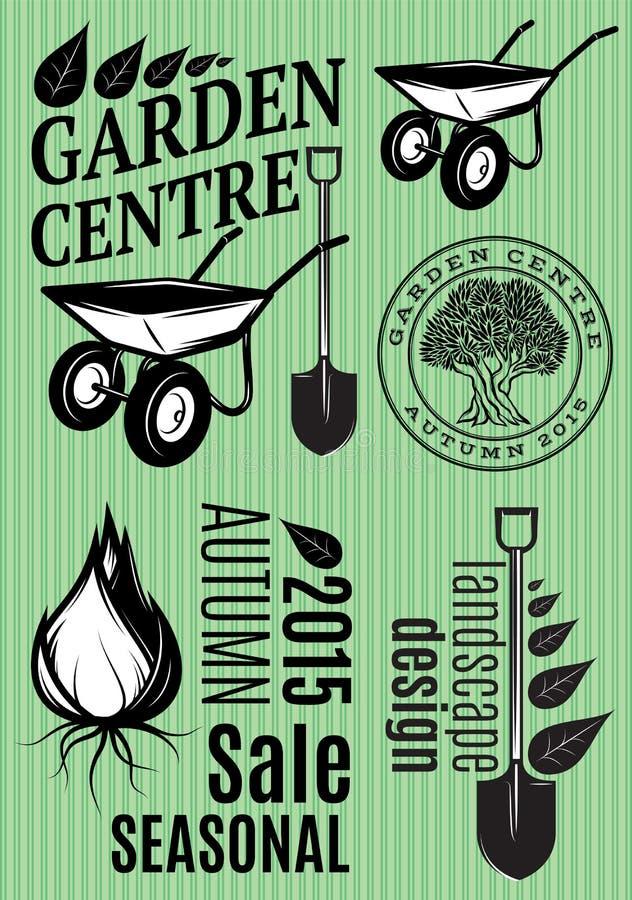 Set wzory w retro stylu dla ogrodowego centrum, festiwal ilustracja wektor