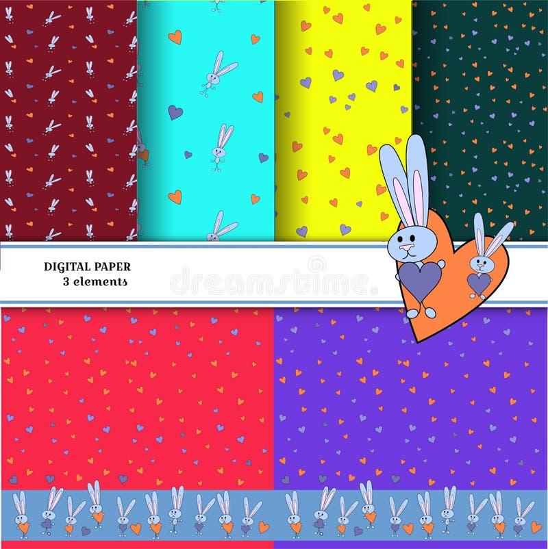 Set wzory z szarymi królikami na kolorowych tło Dla drukowych tapet Jaskrawy królik ściska serce dla royalty ilustracja