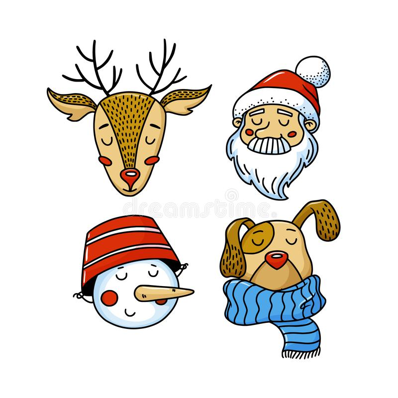 Set of Xmas avatars - deer, Santa, snowman, dog royalty free illustration