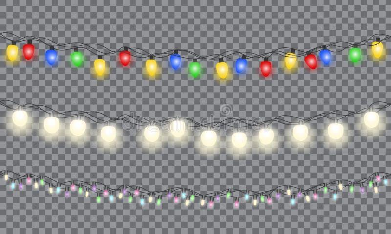 Set xmas kolorowa rozjarzona girlanda ilustracja wektor