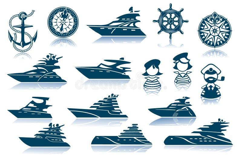 set yacht för symbolslyx vektor illustrationer