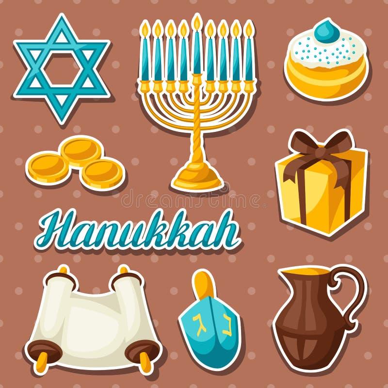 Set Żydowski Hanukkah świętowania majcher protestuje i ikony ilustracji