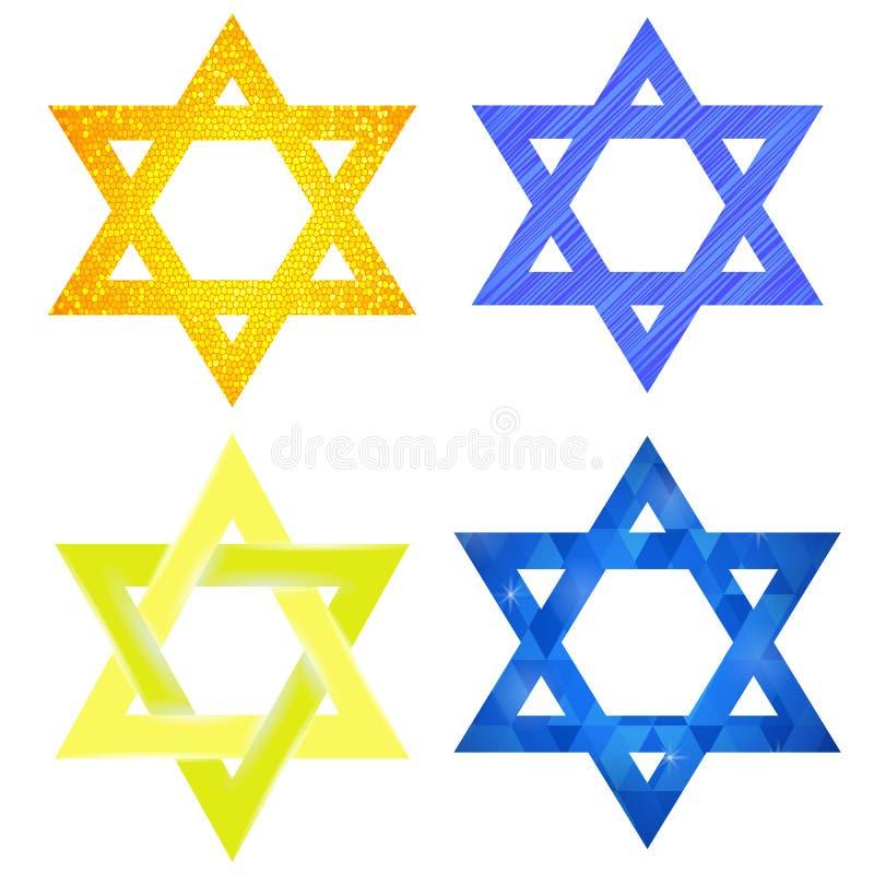 Set of Yellow and Blue Mosaic David Stars royalty free illustration