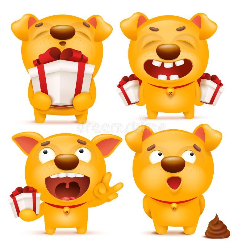 Set of yellow cartoon emoji dog character vector illustration