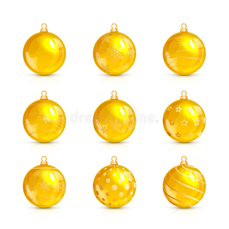 Set of yellow Christmas balls with holiday pattern. Set of decorative yellow Christmas balls with golden holiday pattern, isolated on white background vector illustration