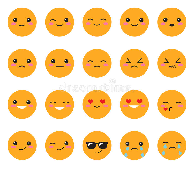 Set yellow emotions face. Set Japanese smiles. Round, yellow Kawaii face on a white background. Cute Collection emotions anime sty vector illustration
